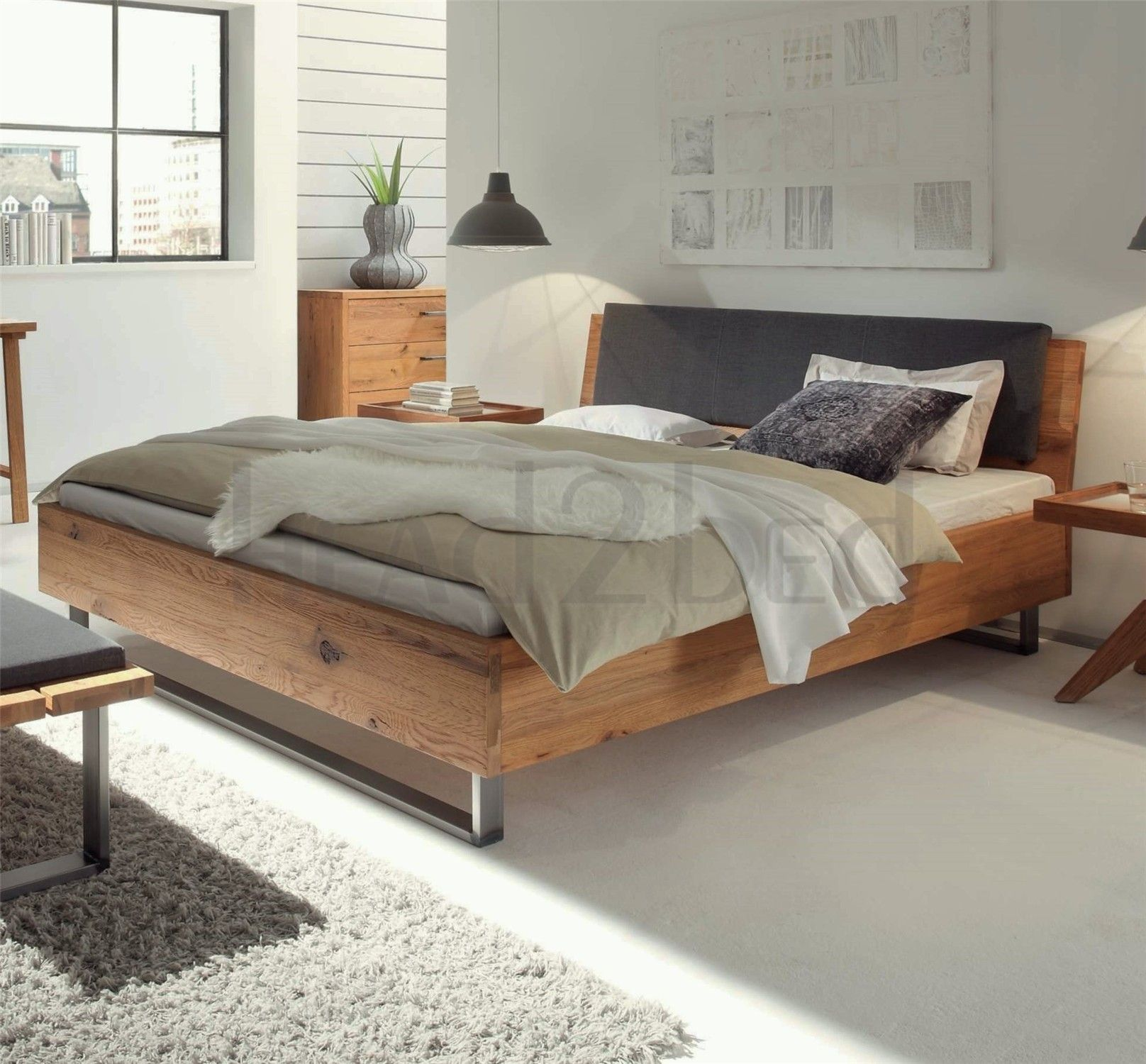 Hasena Indus Sion Ravo Character Solid Oak Real Leather Bed In