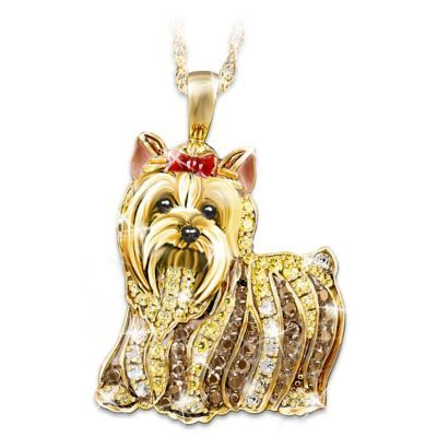 Yorkie pendant handcrafted in solid sterling silver and plated in yorkie pendant handcrafted in solid sterling silver and plated in 24k gold sparkles with a pav of swarovski crystals gift box aloadofball Gallery