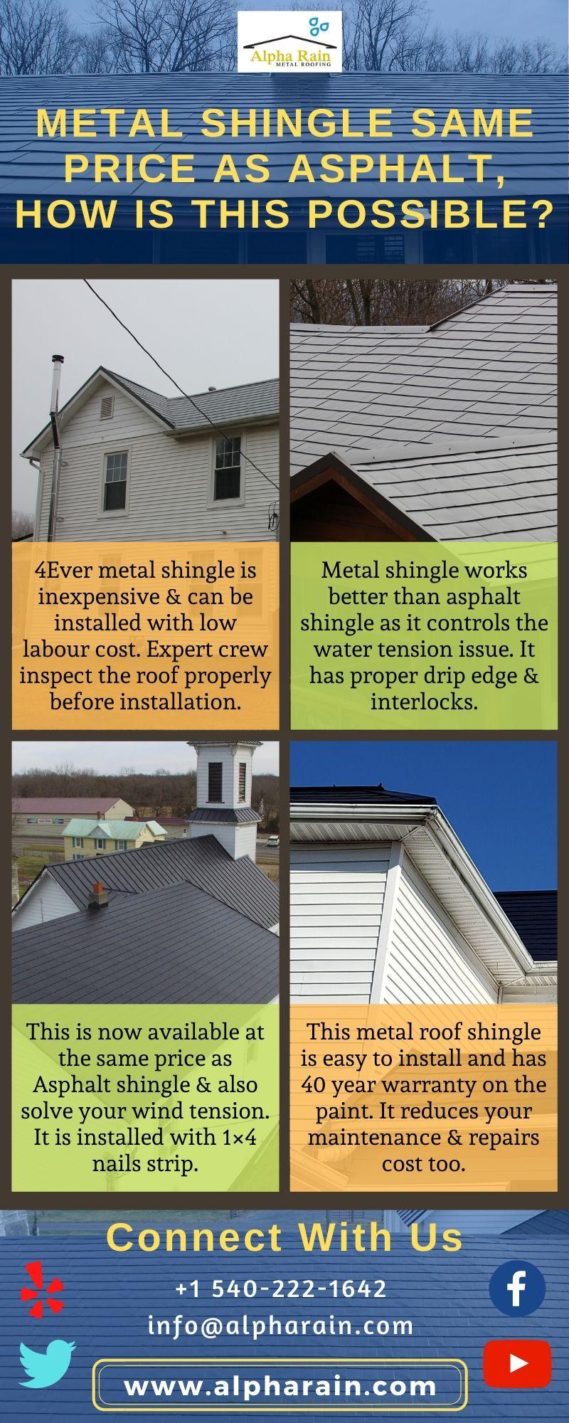 Is Metal Shingle Is Expensive Than Asphalt Shingle In 2020 Metal Shingles Asphalt Shingles Shingling
