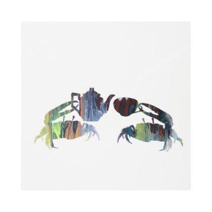 #Posters #Metal #Art - #Tea crabs metal print
