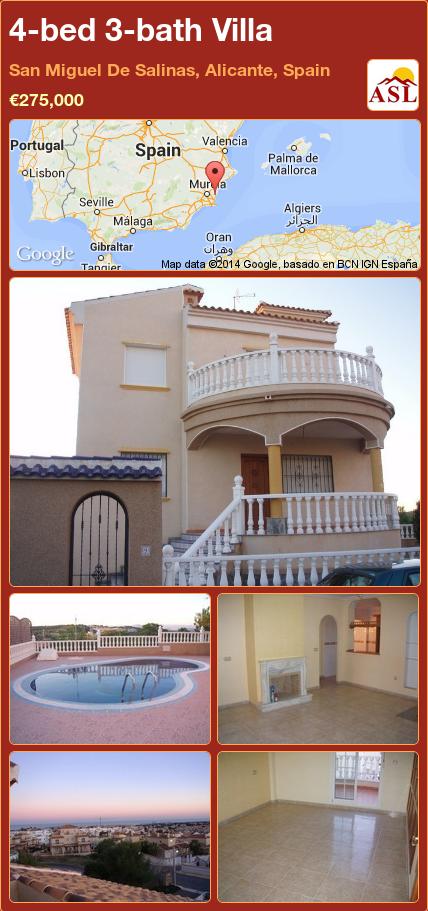 4-bed 3-bath Villa in San Miguel De Salinas, Alicante, Spain ►€275,000 #PropertyForSaleInSpain