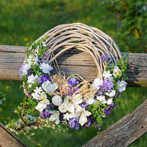 0f9e05df5 Fialovo-biely veniec / Hydrangea | Celoročné a letné dekorácie ...
