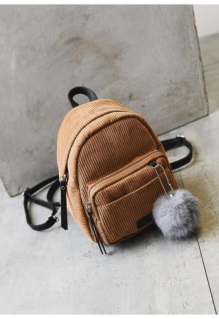 Women's Bags Winter Cute Mini Backpack Small Backpack Women School Shoulder Bag Fur Ball Solid Color Corduroy Back Pack Velvet Schoolbag Backpacks