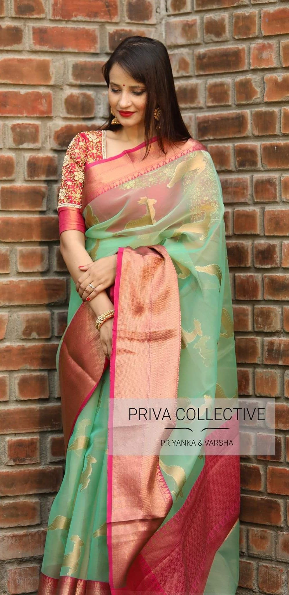 556bc3035a96c1 Kora organza saree with zari weaved deer motifs, contrast pink border and  running blouse