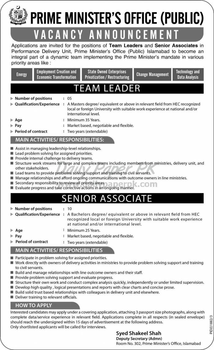 Jobs In Prime MinisterS Office Islamabad HttpWwwDailypaperpk
