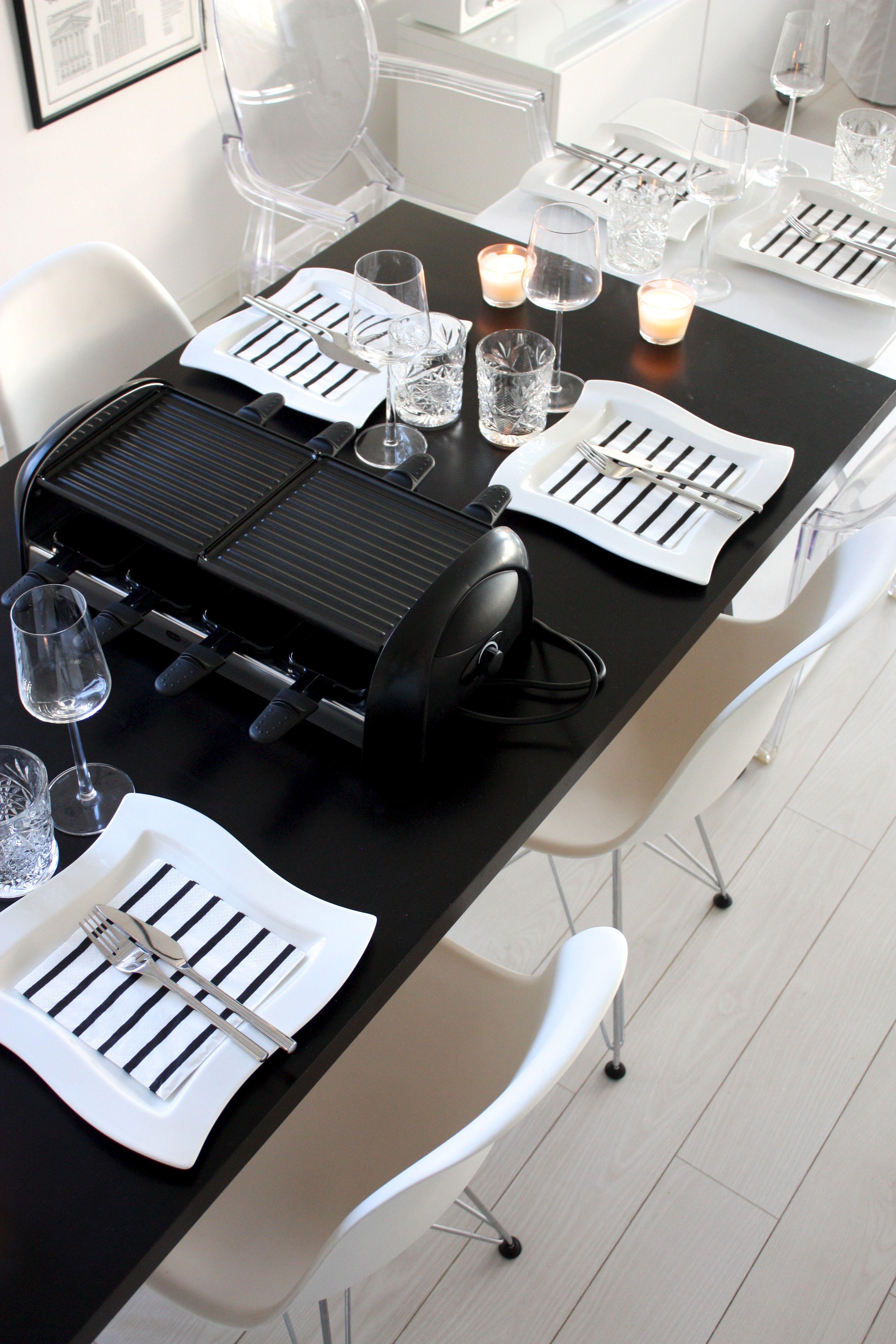 homevialaura | raclette night | table setting | Villeroy Boch New Wave plates | Iittala Essence & Raclette-ilta | Night table Iittala and Dinnerware