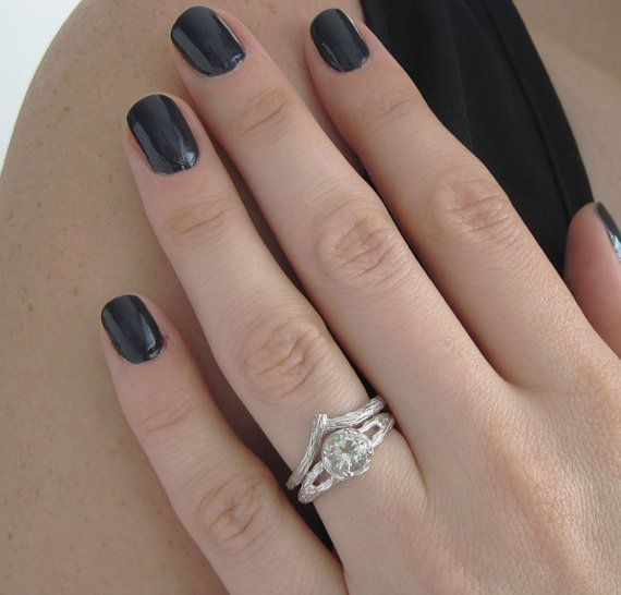 Bark Engagement Ring Set Wood Engagement Ring Bridal Set by Benati