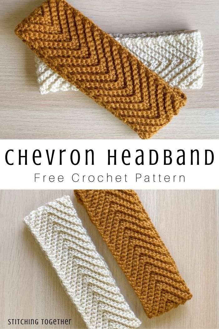 Gray Skies Crochet Chevron Headband | Stitching Together