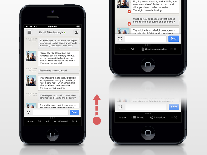 Gchat Edit mode in a conversation Nice portfolio, Ios