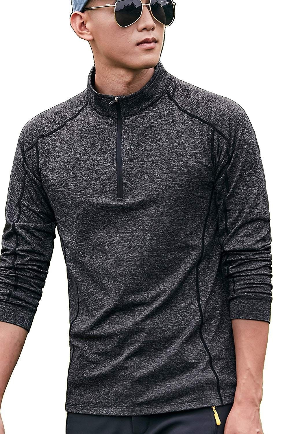 Yoga Shirt For Men Long Sleeve Yoga Clothes Black Flannel Quick Dry outwork Running t Shirt - Black...