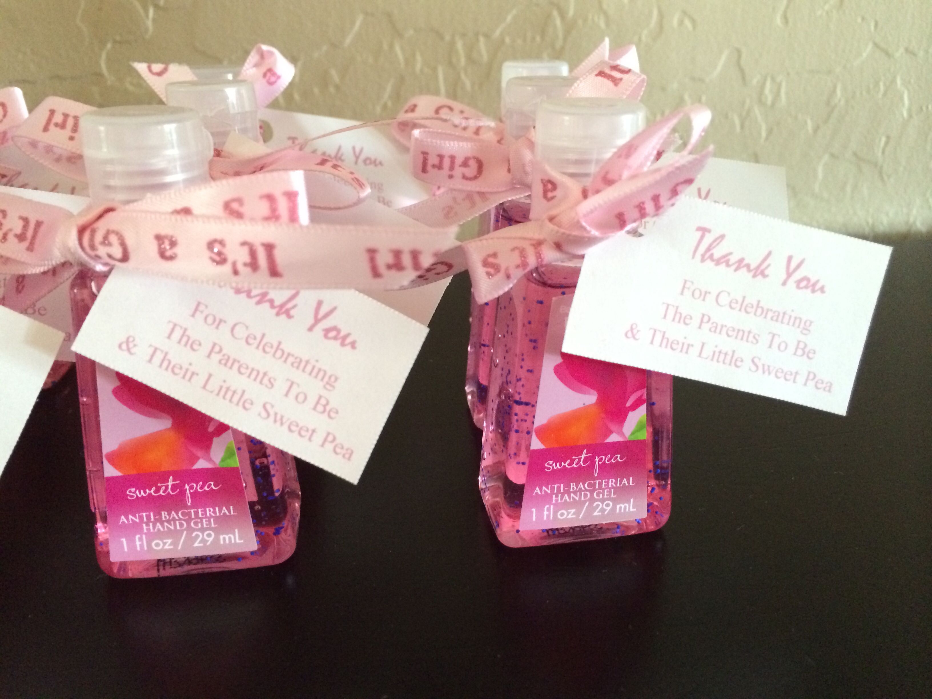 Hand Sanitizer Favors For A Baby Shower The Tag Reads Thank