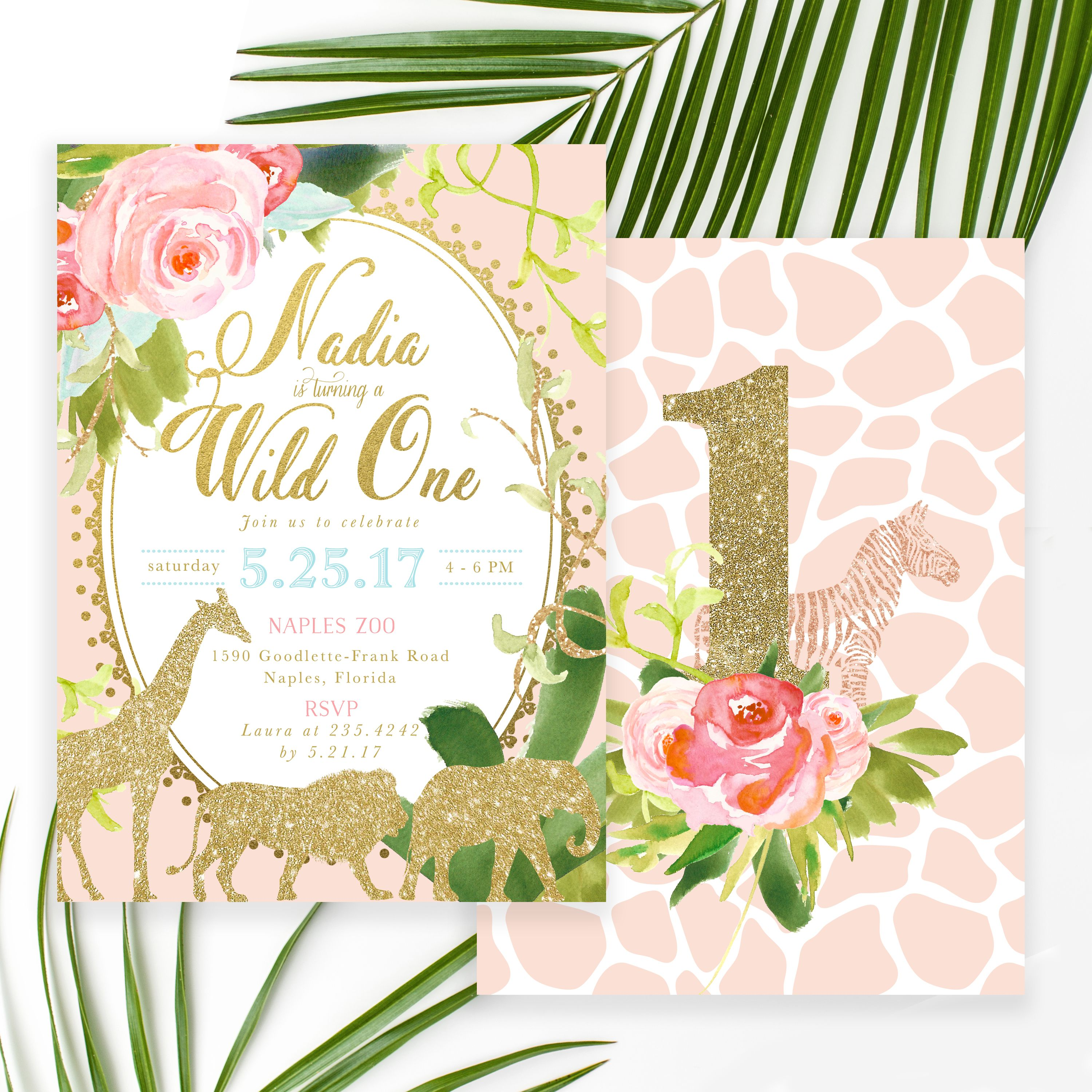 Glam Safari Jungle: Girl\'s 1st, First Birthday Party Invitation ...
