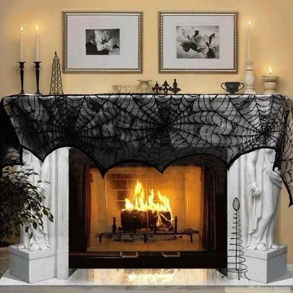 aerwo halloween decoration black lace spiderweb fireplace mantle