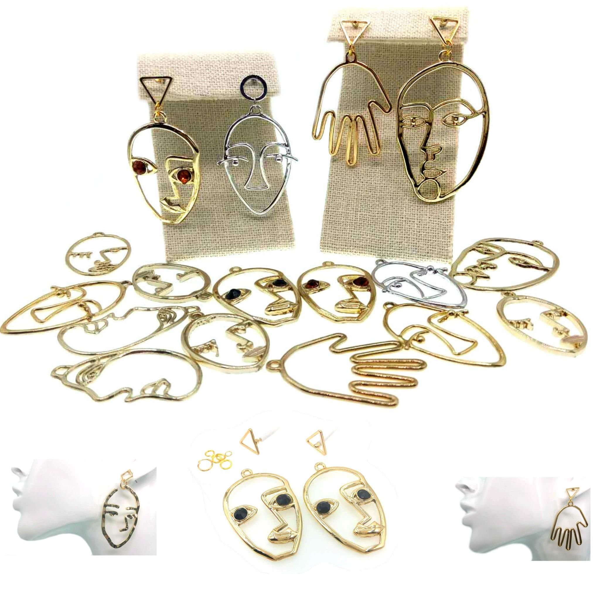 Earrings Abstract Face Modernist Earring Base Stud Jewelry Making Diy Charms For Necklaces Choker Findings 1 Kit 2 Pendants