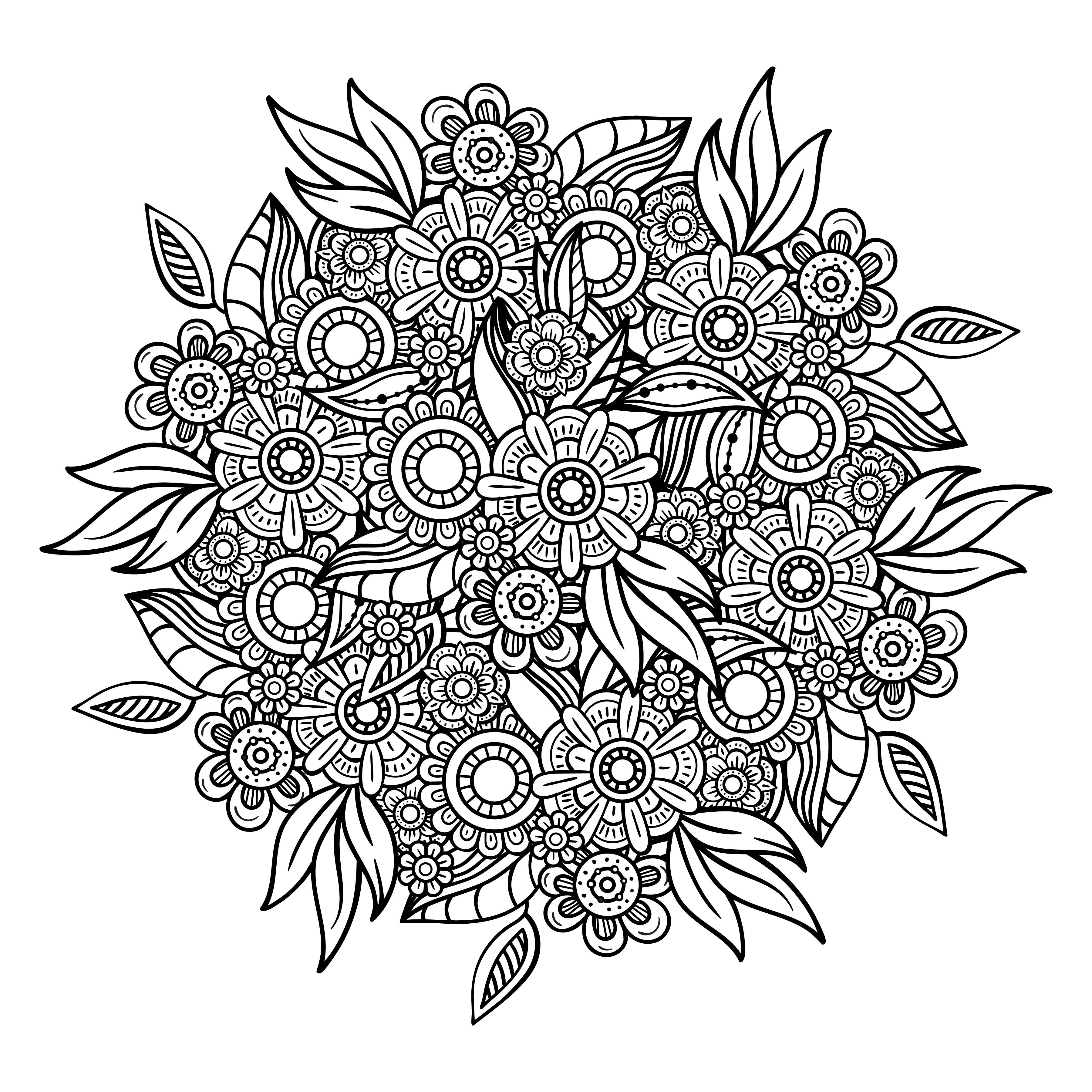Floral Mandala Svg Zentangle Flowers Etsy In 2020 Zentangle Flowers Flower Coloring Pages Coloring Pages