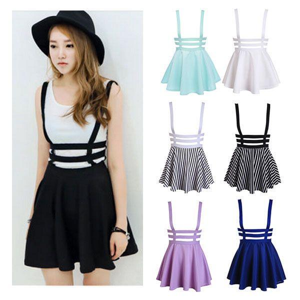 Suspender Skater Skirt ($23) ❤ liked on Polyvore featuring skirts, knee length skirts, skater skirt, circle skirt, white skater skirt and flared skirt