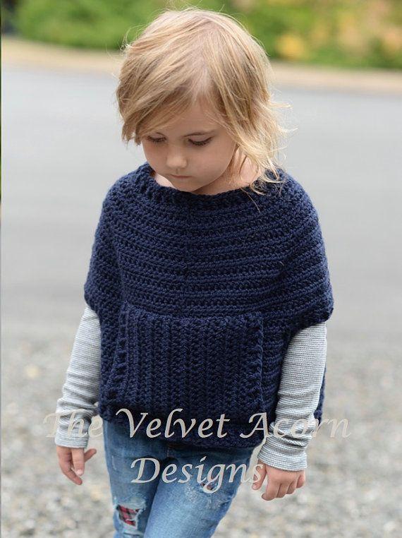 Crochet Pattern - Osyan Cape Pullover (2/3, 4/5, 6/7, 8/9, 10/11, 12 ...