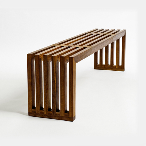 Beautiful slatted wooden bench furnishings pinterest for Beautiful wooden benches