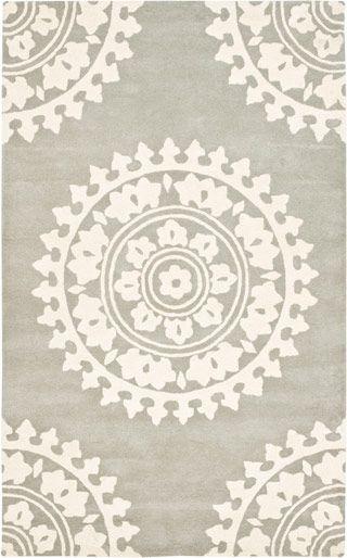 Modernrugs Com Gray Cream Beige White Mandala Floral