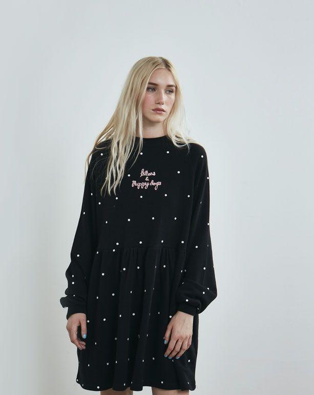 aad97db9d3b Lazy Oaf Black Puppies and Kittens Sweater Dress