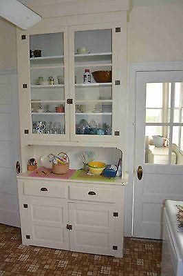 Antique Vintage Hoosier Butler Pantry Kitchen Cabinet 2 Piece