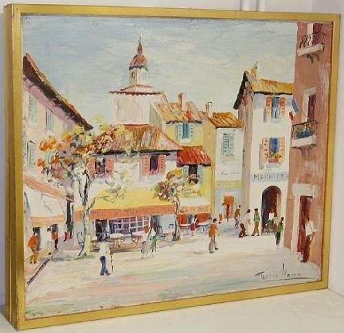 Artwork by George Hann, A Continental town square, Made of oil on canvas