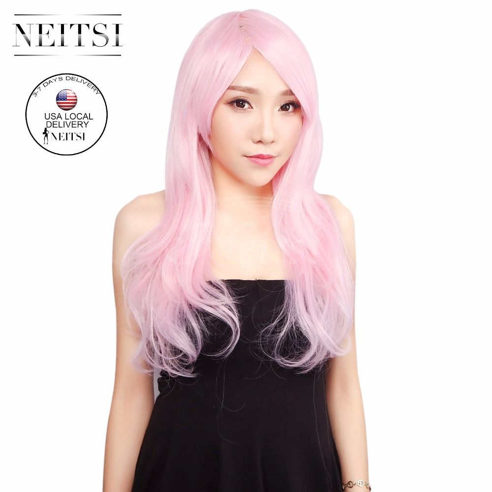 """Neitsi Halloween Synthetic Lace Front Wigs Cosplay Long Curly Wave Light Pink Wig 22"""" 230g/pc Pelucas Sinteticas For Black Women"""
