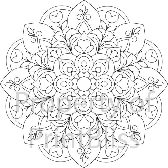 19 Flower Mandala Printable Coloring Page By Printbliss On Etsy