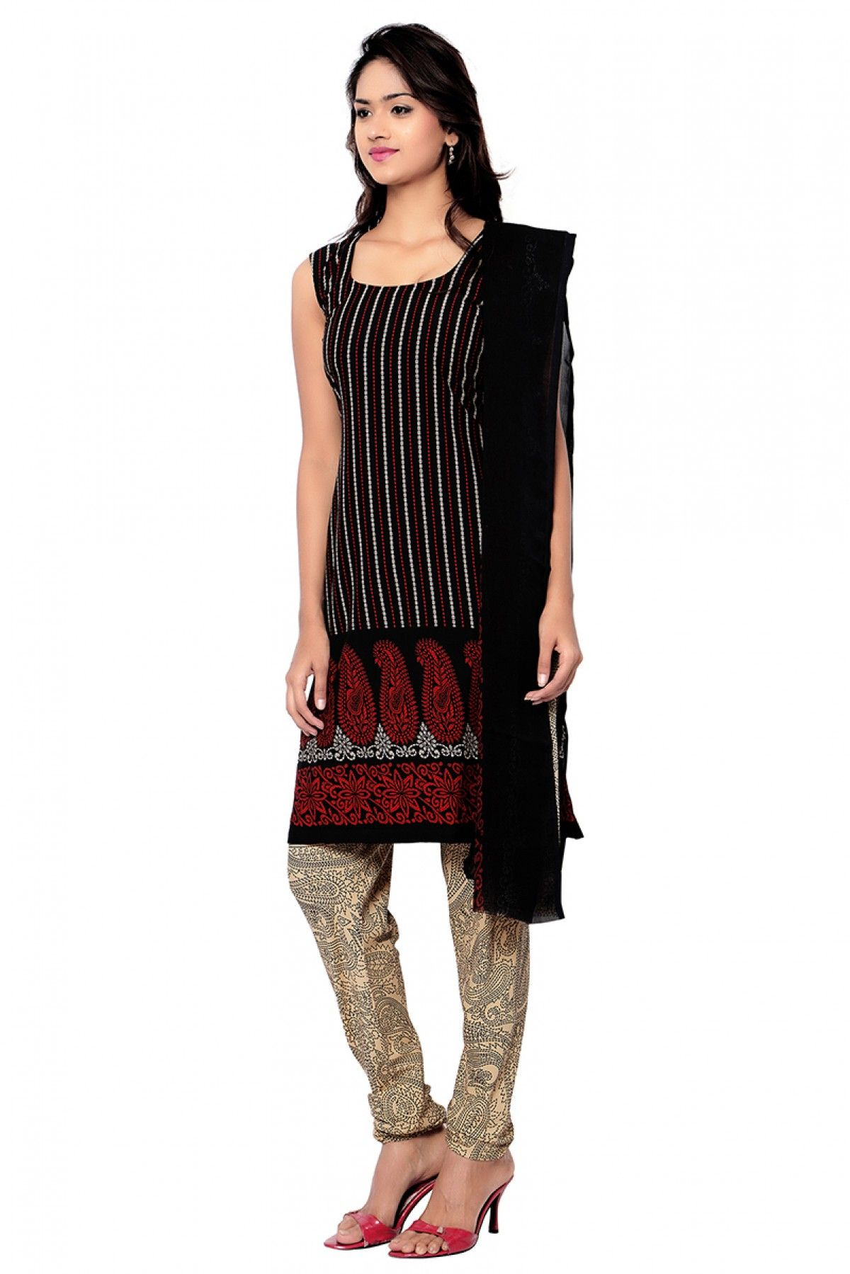 Crepe Casual Wear Churidar Suit in Black Colour | Churidar suits ...
