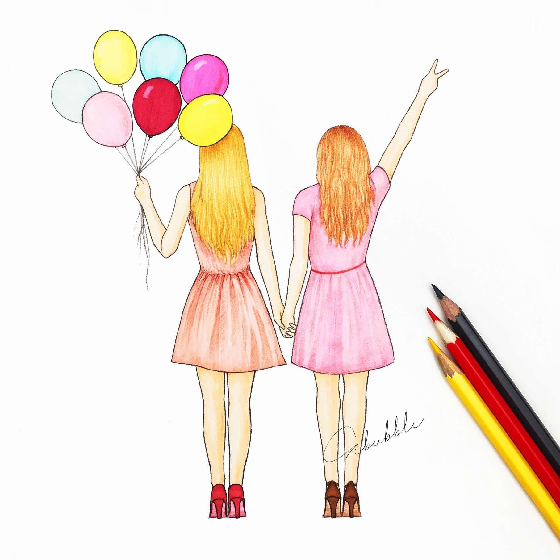 15 Cute Best Friend Drawings For Kids Kids Drawing In 2020
