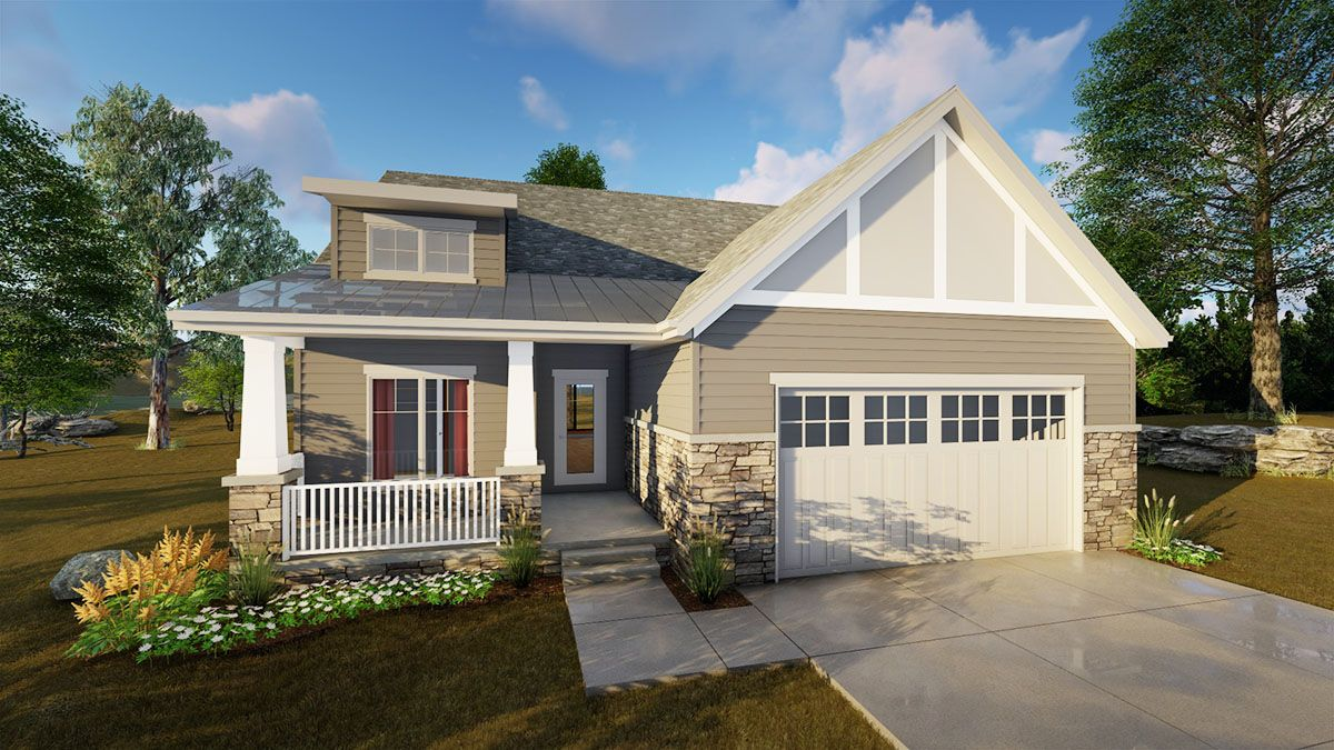 Plan 62647dj 2 Bed Craftsman With Shed Roof Front Porch Craftsman Style House Plans Craftsman House Plans Craftsman House