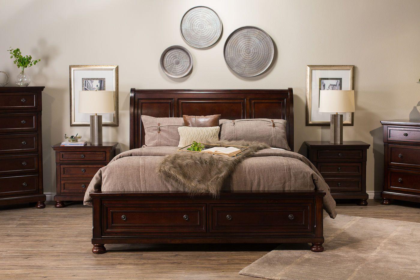 Fourpiece Traditional Storage Bedroom Set In Dark Brown Mathis
