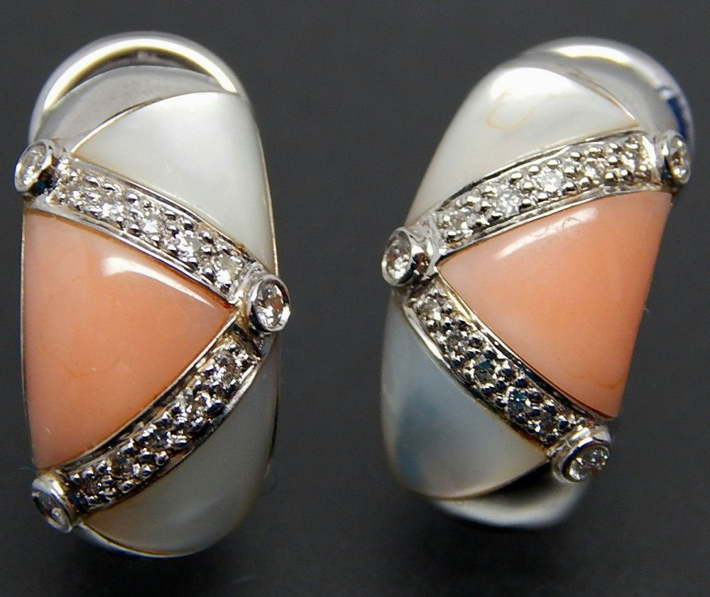 18K WHITE GOLD 0.32 CTW DIAMONDS MOTHER OF PEARL & CORAL MOSAIC INLAY EARRINGS  #18kgold #whitegold #goldearrings #whitegoldearrings #earrings #motherofpearl #diamonds #diamondearrings #mosaicinlay #coral #coralearrings