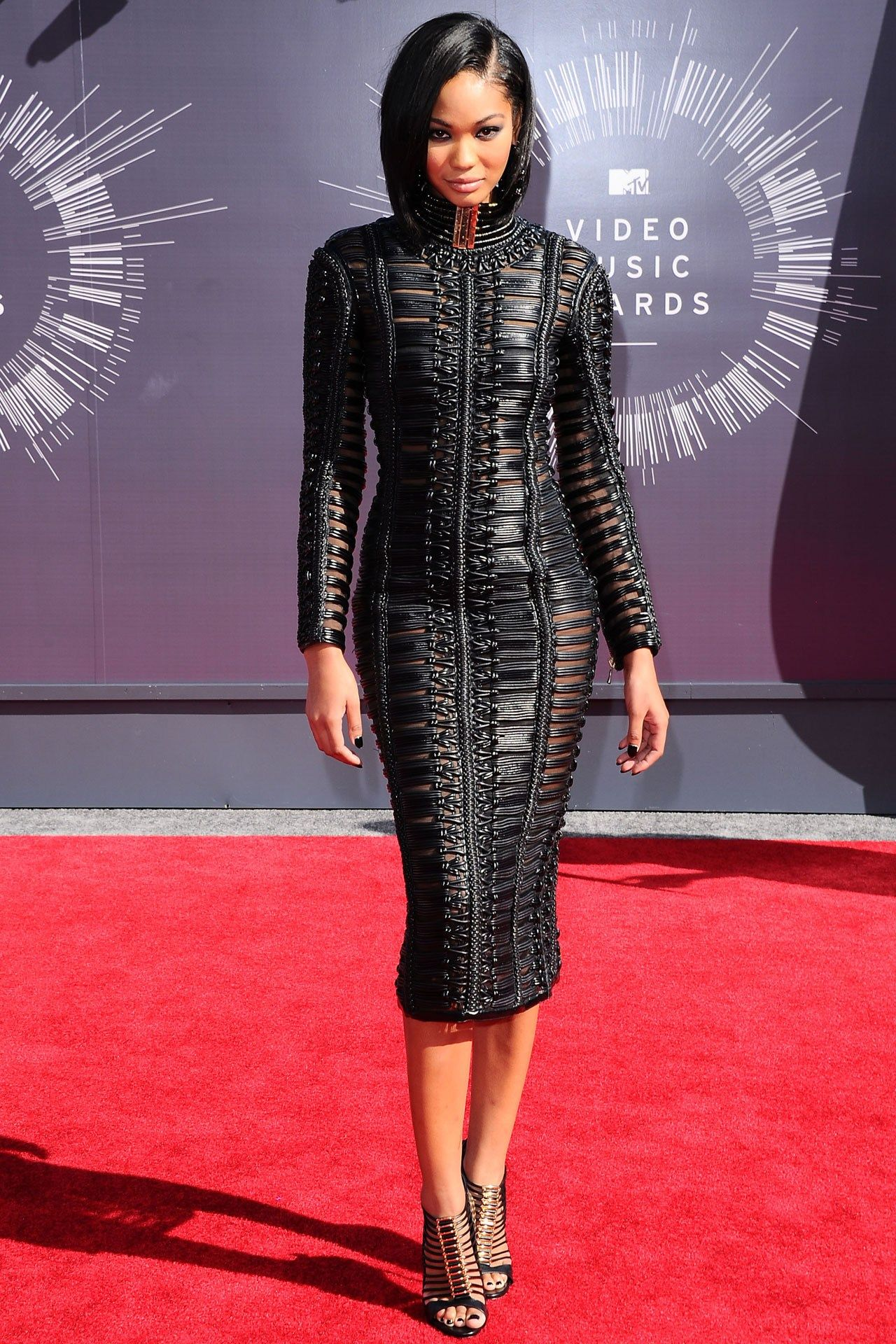 Chanel Iman wore a Balmain dress with Casadei heels.