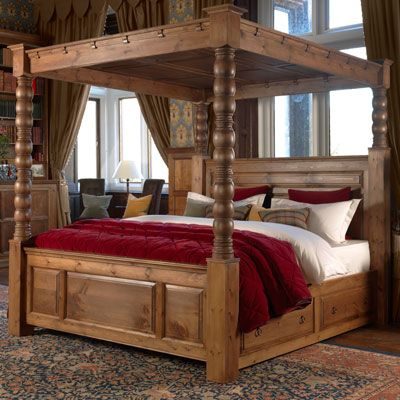 beautiful four poster chunk wooden bed - revival beds ...