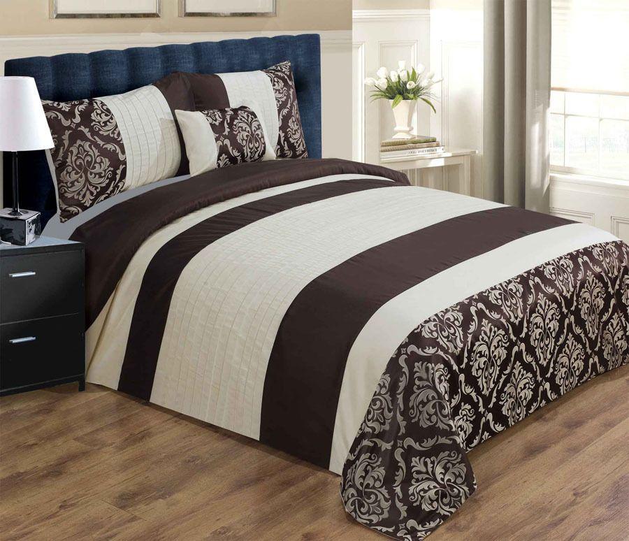 Luxury Duvet Cover Set Pillowcases Cushion Chocolate Brown Cream Double Duvet Bedding Sets Luxury Duvet Covers Duvet Cover Sets