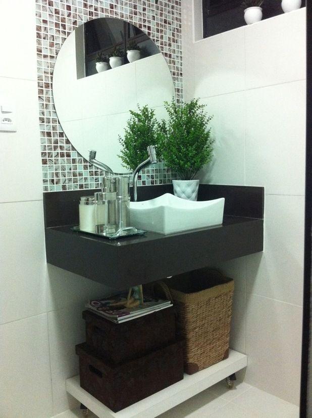 Lavabo  pia + pastilhas atrás do espelho  decorações  Pinterest  Pastilha -> Como Colocar Pia De Banheiro Na Parede