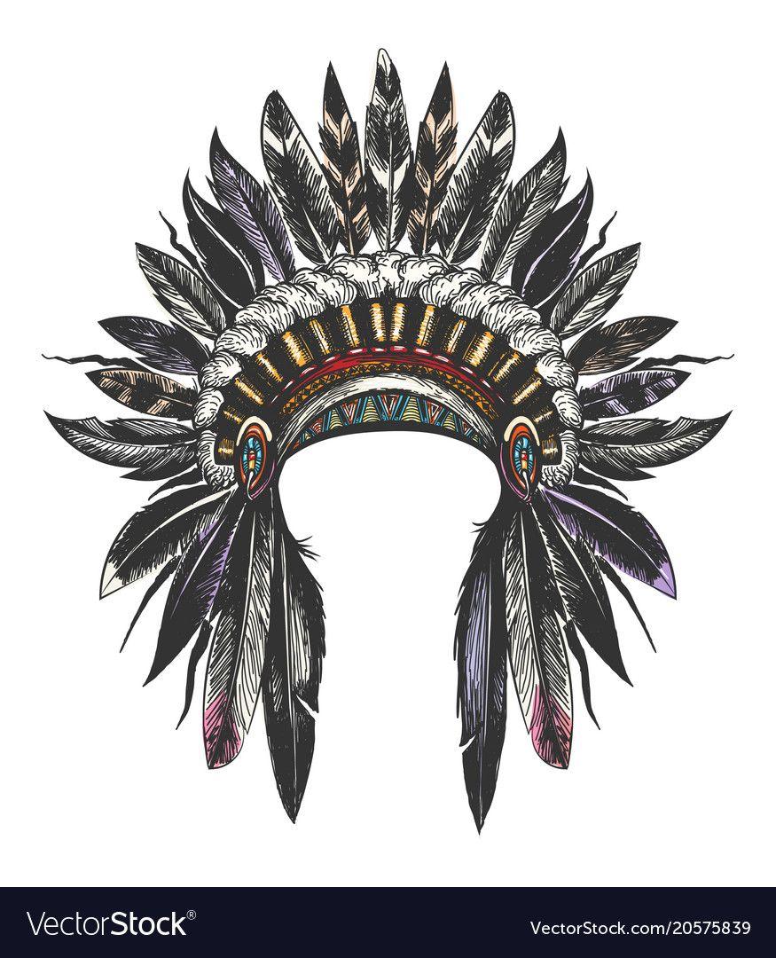 Hand Drawn Colorful Feathered War Bonnet Vector Illustration Download A Free Pr Indian Skull Tattoos Indian Headdress Tattoo Native American Headdress Tattoo