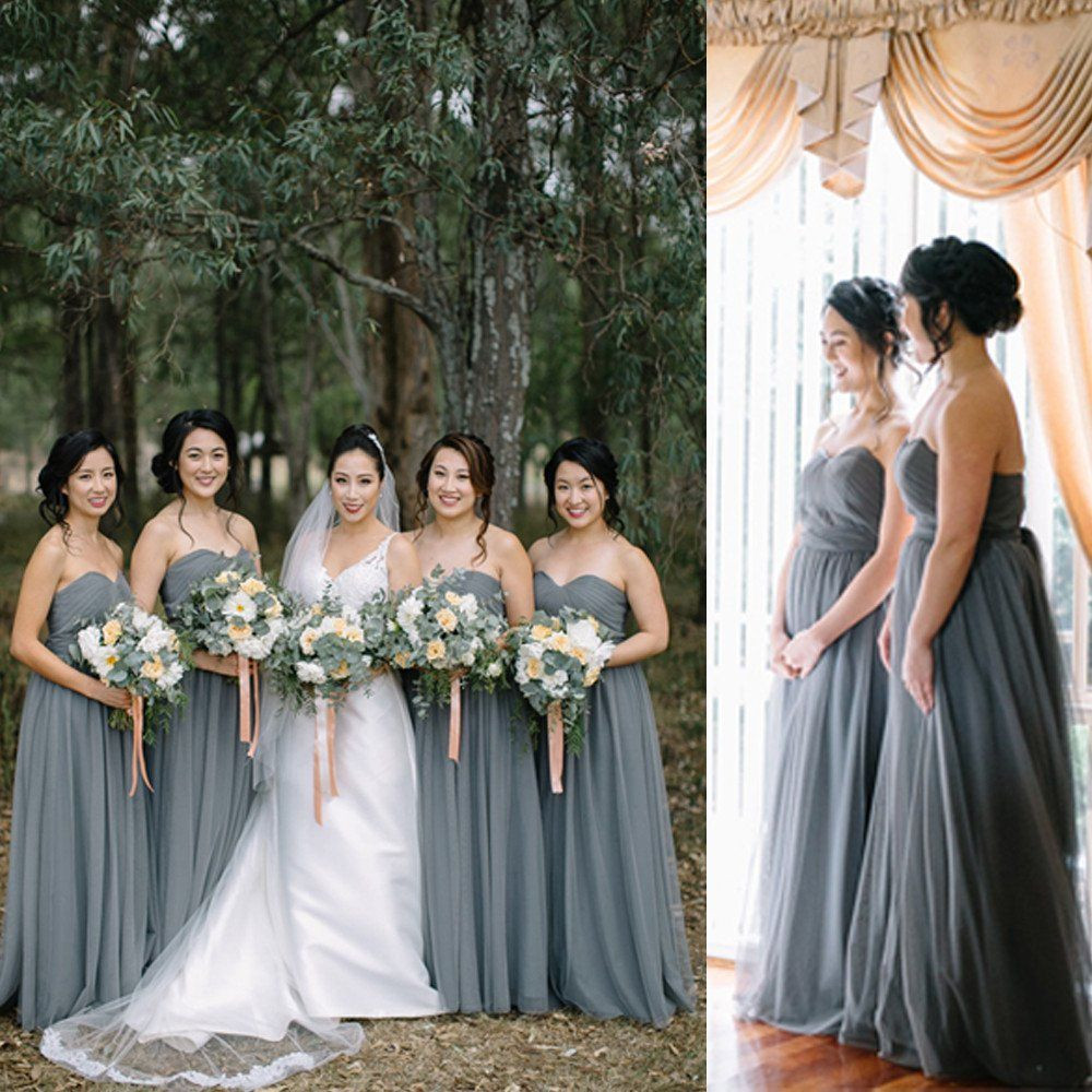 Wedding Venues Near Me Cheap: Cheap Long Elegant Pleated Strapless Sweetheart Dark Grey