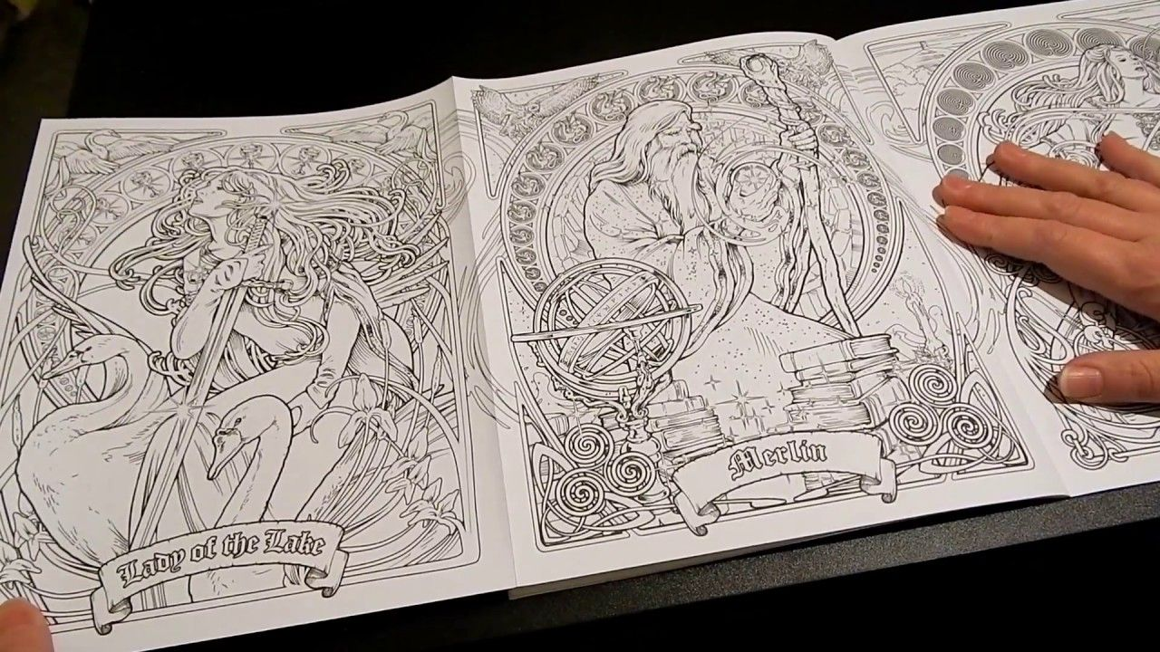 Coloring Book Flip Through Legend Nouveau Coloring Book By Herb Leonhard Colorful Drawings Coloring Books Coloring Pages