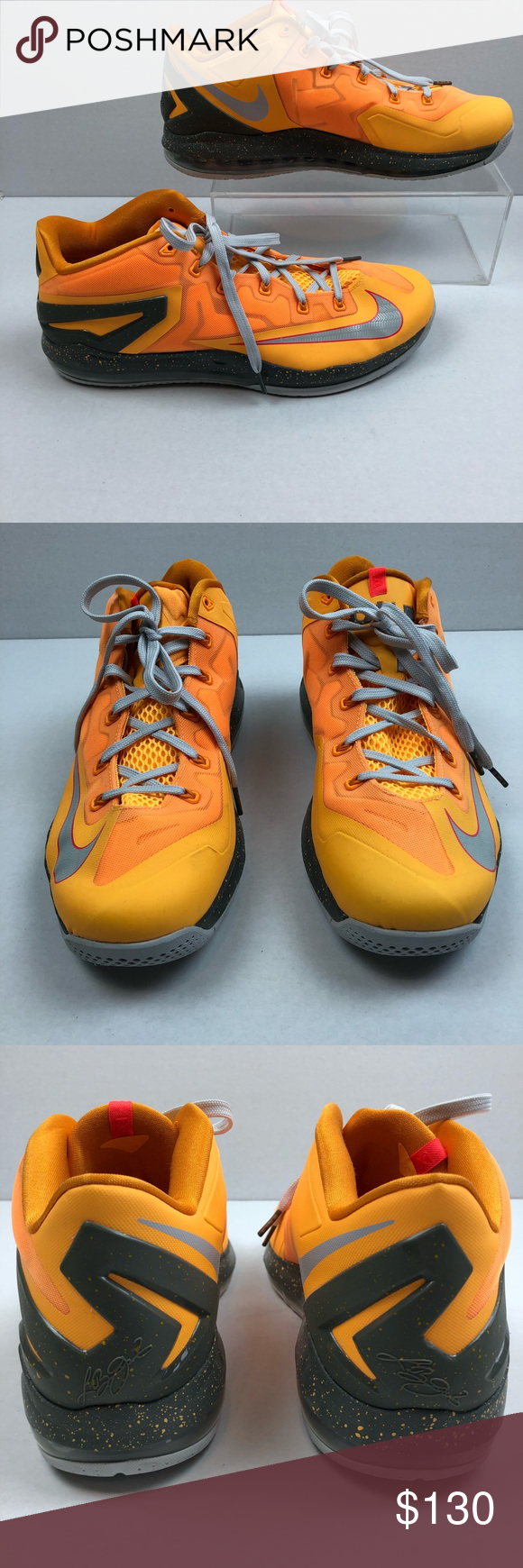 best service 4f185 8e9c8 Nike Max Lebron Floridian 11 Low XI 13 Orange Gray Nike Max Lebron 11 XI Low