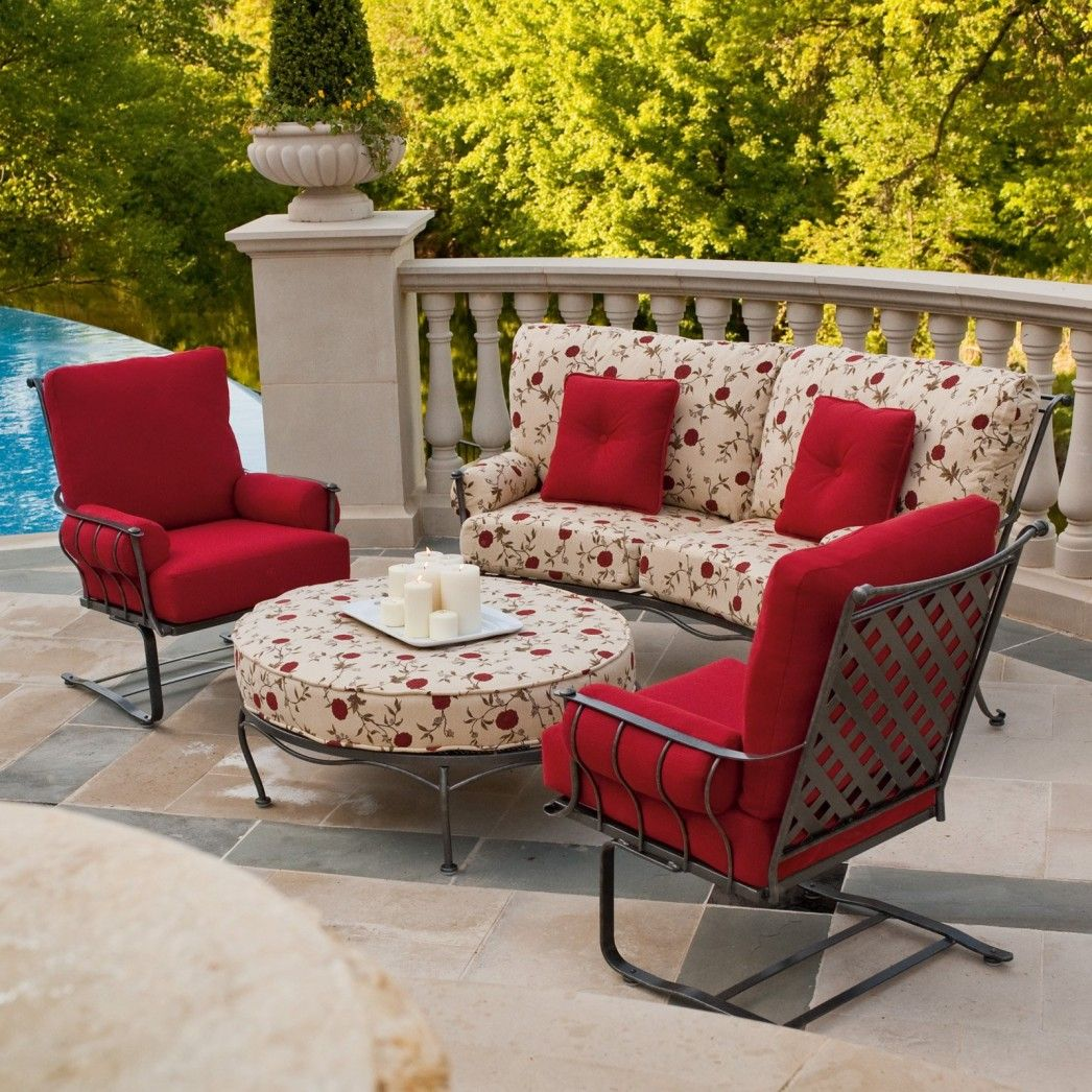 wrought iron chair cushions swing seat jungle gym traditional chairs with cream flower pattern cushion and red from woodard patio furniture table