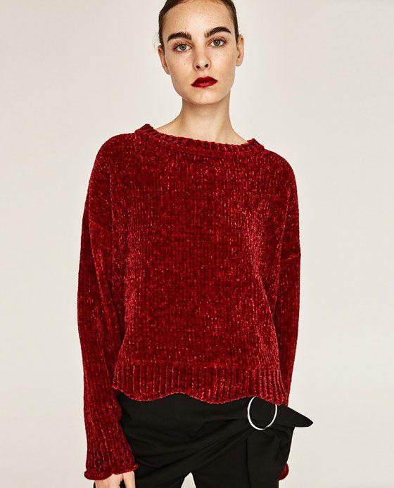 Femme Col V En Pulls Zara Maille Chin茅e pull Pull PiuOZkX