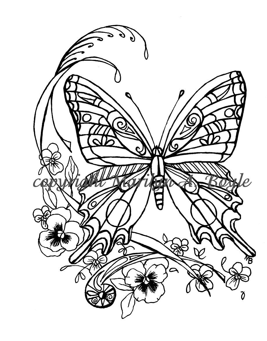 ADULT COLORING PAGE; digital download, butterfly, pansies, garden ...