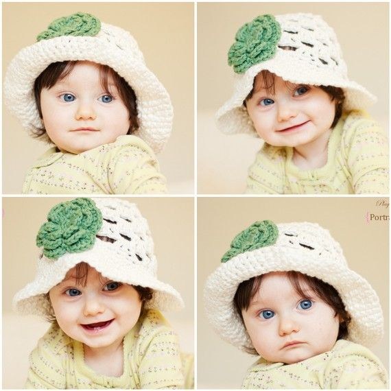 Cute summer crocheted hat | Baby hats | Pinterest | Gorros, Guantes ...