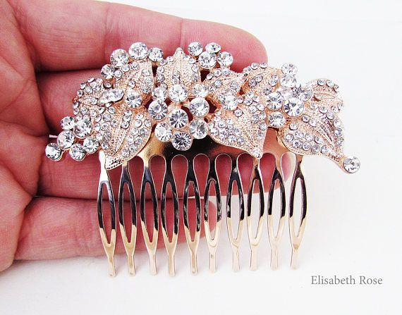 Rose Gold Rhinestone and Crystal Wedding Hair Comb Rose Gold Hair Jewellery for Bride Bridemaids Hair Comb Small Rose Gold Hair Comb #bridemaidshair