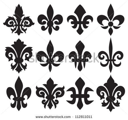 Lily flower heraldic symbol fleur de lis royal french lily symbols for design and