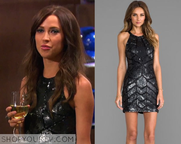 The Bachelorette Season 1 Episode 6 Kaitlyns Black Sequin Cut Out Dress
