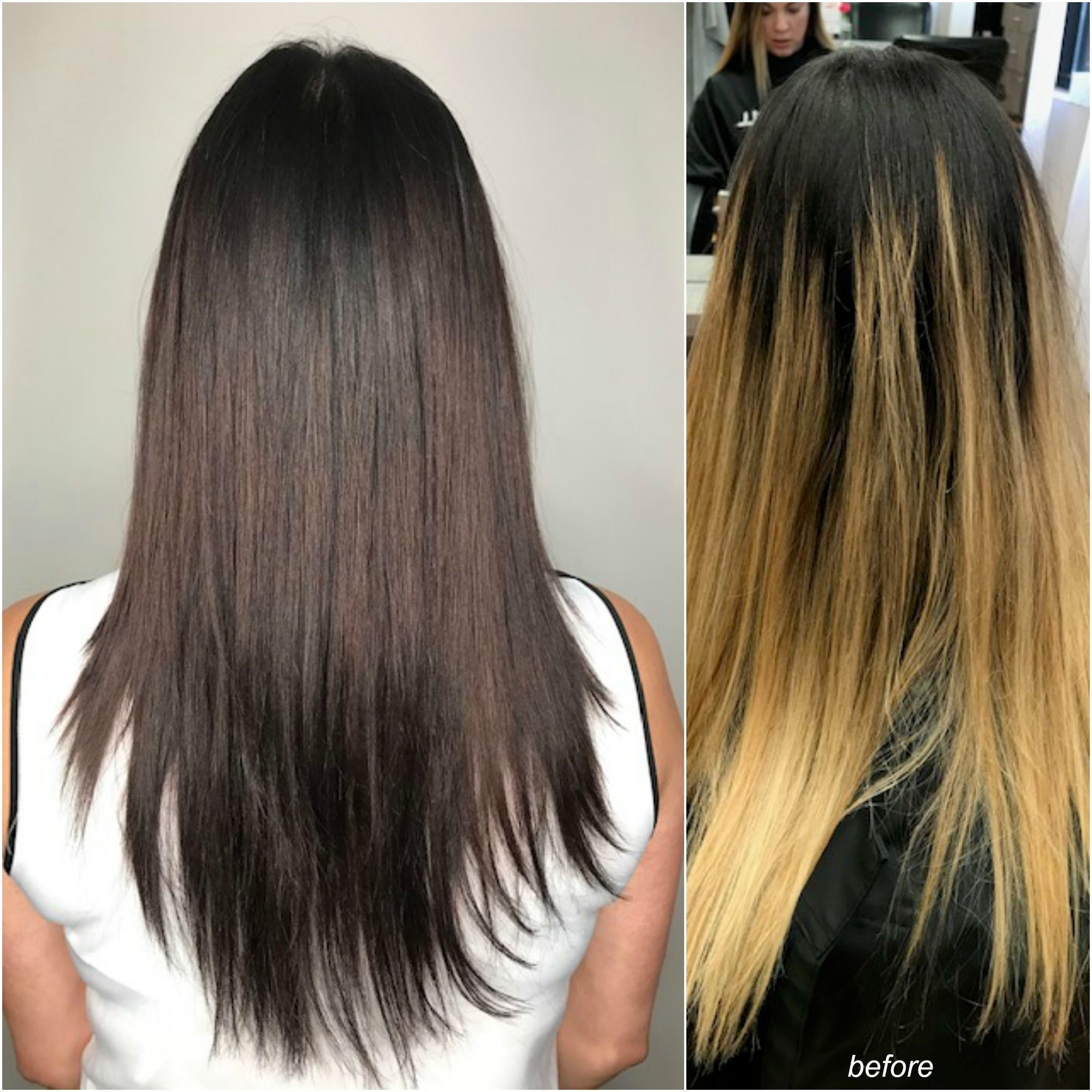 Rich Dark Cola Brown Transformation Over 2 Sessions Color Design By Morgankozinskihair Best Hair Salon Long Hair Styles Hair Styles