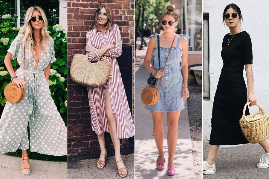 Como usar: Bolsa de palha | Ideias fashion, Looks femininos, Looks